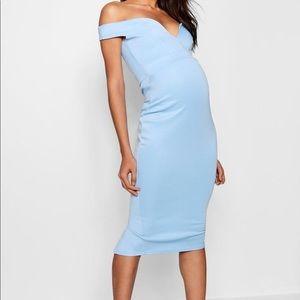 Boohoo blue maternity baby shower dress